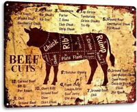 Beef Cuts Cow Cattle Kitchen Butcher Farm Ranch Rustic Metal Decor Sign