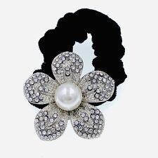 Flower Hair Rope Wrap Rhinestone Crystal Scrunchies Ponytail Holder Silver F30