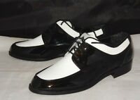 """NEW ~ AFTER SIX """"MODERN TIME"""" BLACK & WHITE PATENT TUXEDO DRESS SHOES SIZE 7.5M"""