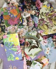 Vintage Lot 50 Pcs Gift Wrap Paper Floral Crafts Decoupage Assorted Sizes