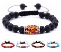 Charm Natural Lava Beads Bracelet Crown Micro Pave Energy Adjustable Bracelets