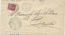 P6383   Vicenza, Rossano Veneto, annullo numerale a sbarre 1889