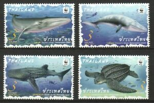 THAILAND 2019 WWF PRESERVED WILD ANIMAL MARINE LIFE COMP. SET OF 4 STAMPS MINT