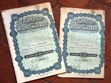 LOT DE 10 EMPRUNT  ACTION compagnie de mines et minerais Bruxelles 100frs 1928