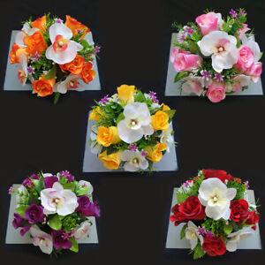 Artificial Flowers Grave Arrangement in Memorial Grave Pot, Grave/Memorial,