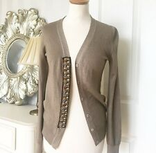 PRADA EMBELLISHED SILK  FINE KNIT JEWELRY CARDIGAN JACKET SWEATER  (42)