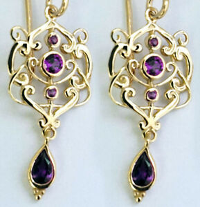 E104 Genuine 9K,14K or 18K Yellow or Rose Gold Natural Amethyst Drop Earrings