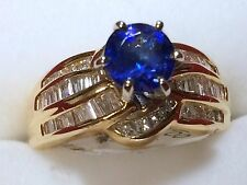 Lady 14kt yellow gold Diamond & Tanzanite cocktail ring brand new!