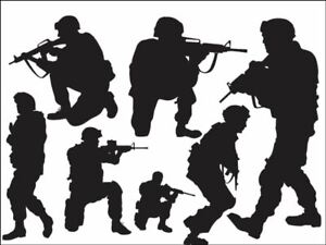 Army fighting  silhouettes Edible Printed Cake Topper Kit Wafer or Icing