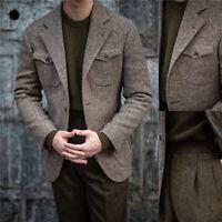 Men Suits Herringbone Coats Business Blazer Tuxedos Wool Blend Work Wear Casual