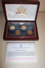 US COMMEMORATIVE GALLERY 2008 PRESIDENTIAL DOLLARS  Cherry Wood Display  4 Coins