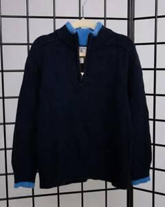 Boys Medium 5/6 Land's End Kids Quarter-Zip Sweater - Blue - 100% Cotton