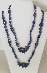 Set Of 2 Unique Lapis Necklace W 925 Sterling Clasp Multi Shapedbeads