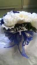 21 Pc wedding Package Ivory and Blue Sale! Bouquets, bout and corsages