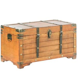 Rustic Large Wooden Storage Trunk with Lockable Latch