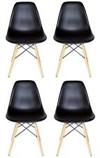 Eames Style DSW Molded Black Plastic Shell Chair with Wood Eiffel Legs(Set of 4)