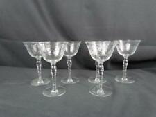 "Lot Of 6 Wine Glasses Etched Flowers Honeycomb Stems 6 1/8"" x 3 3/4"""