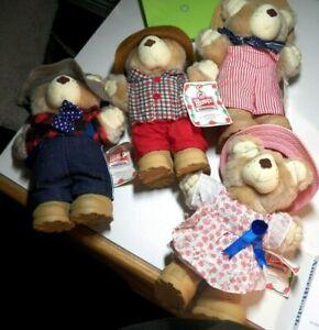 "Vintage 1986 Wendy's Furskins Set of 4 Bears 7"" Plush Stuffed Animals Toy Promo"
