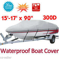 Heavy Duty Boat Cover 300D Fish Ski Bass V Hull Craft 15' - 17' Grey Colour