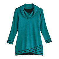 Parsley & Sage Women's Crossover Tunic Top - Reversible Cowl-Neck Long Sleeve