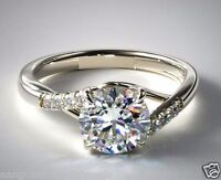 Real 1.54cts Brilliant Cut Micro Pave Set Diamond Engagement Ring 14k White Gold