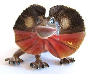 Miniature Porcelain Australian Frilled Neck Lizard Approx 3.5cm x 7cm