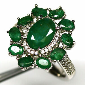 NATURAL GREEN EMERALD & WHITE CZ RING 925 STERLING SILVER SIZE 5.75