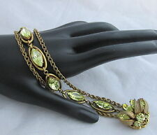 Vintage Signed Miriam Haskell Glass Yellow Citrine Stones&Brass Chain Bracelet