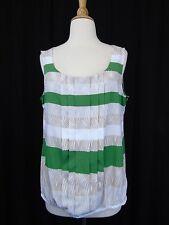 Alfani Petite Sleeveless Tribal Stripe Print Pleated Tank Top 14P Green #4365