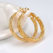 Women's Ring Hoop Earrings 18k Yellow Gold Filled 30mm Fashion Jewelry