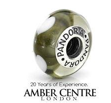 Original Pandora Charm Murano Glas GRAU HERZEN 790666