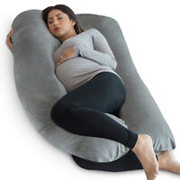 PharMeDoc Full Body Pillow, U Shaped Pregnancy Pillow + Super Soft Velvet Cover