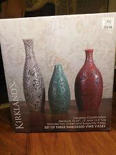 Set of Three Embossed Vine Design Ceramic VASES - Tan, Green & Burgundy