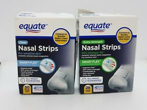 2 Packs Equate Nasal Strips ~ Clear for Sensitive Skin & Extra Strength