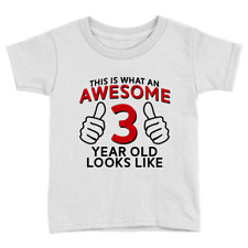 Awesome 3 Year Old Kids T-Shirt 3rd Birthday Celebration Present Gift Cute