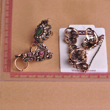 Adjustable Two Finger Rings For Party Women Acrylic Hollow Flower Vintage Ring