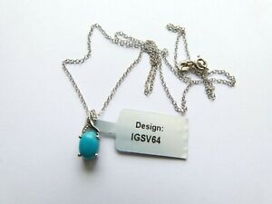 """Gemporia/Gems TV Sterling Silver Turquoise and Diamond 18"""" Pendant Necklace"""