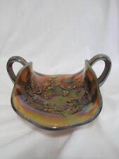 Vintage Millersburg Holly Sprig Carnival Glass Bonbon Amethyst 2 Handle Dish