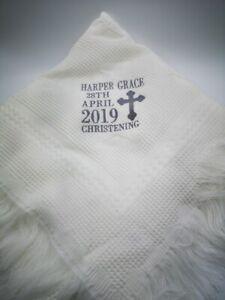 Stunning personalised christening / baptism shawl blanket gift namesake present