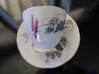 Old Royal Bone ENGLAND china cup and saucer pink wheat design ORIGINAL