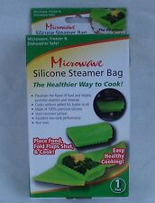 MICROWAVE SILICONE STEAMER BAG Container with Folding Flaps Lid for 1-2 servings