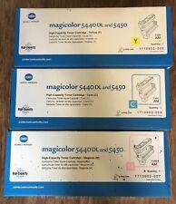 Konica Minolta Magicolor 5440 DL and 5450 High Capacity Yellow Cyan Magenta OEM