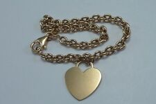 "18K Yellow Gold 7"" Bracelet with Heart Shaped Charm"