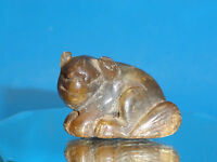 VINTAGE EARLY 20c CHINESE EXPORT HONGSHAN NEOLITHIC STYLE AGATE CARVED BEAR