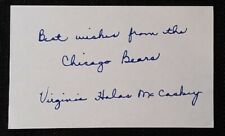 Virginia Halas Mc Caskey signed index card Chicago Bears owner