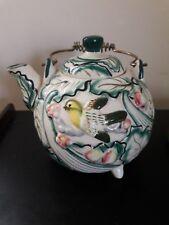 Vintage Decorative Ceramic Bird & Flower Tea Pot