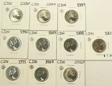 1987 to 2006P Canada 25 Cents Lot of 10 From Sets UNC #5254