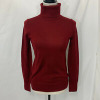 NWT J CREW Womens Sz XS Burgundy 100% Merino Wool Turtleneck Sweater Top