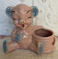 Vintage Laughing Teddy Bear Planter Eating Honey Tummy Full Shawnee Pottery Co?