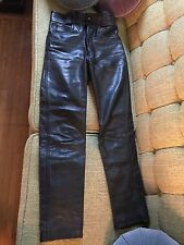 "VTG Black Lewis Leathers London Leather Pants 1980's Made in England 28"" Waist"
